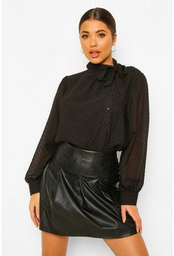 Black Dobby Mesh Pussy Bow Blouse