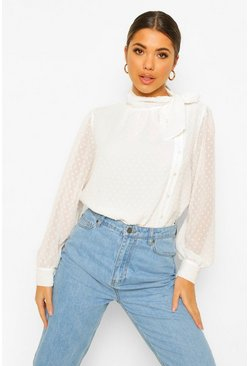 White Dobby Mesh Pussy Bow Blouse