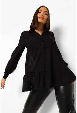 Black Oversized Dobby Mesh Layered Peplum Shirt