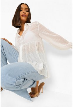 White Oversized Dobby Mesh Layered Peplum Shirt