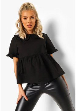 Black Peter Pan Collar Smock Blouse