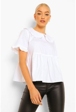 White Peter Pan Collar Smock Blouse