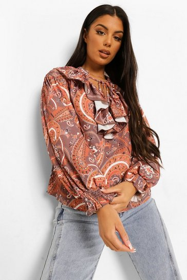Brown Paisley Print Shirred Sleeve Tie Neck Blouse