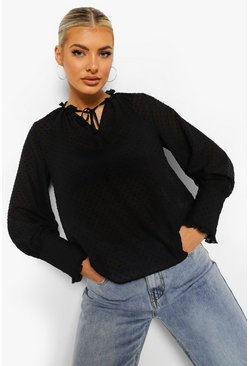 Black Dobby Mesh Tie Neck Keyhole Top