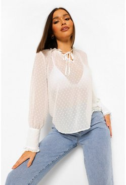 White Dobby Mesh Tie Neck Keyhole Top