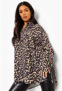 Mocha beige Leopard Print Split Side Oversized Shirt