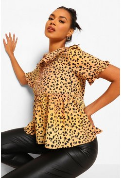 Leopard Peter Pan Collar Smock Blouse