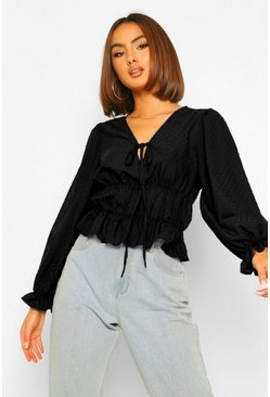 Black Dobby Mesh Tie Detail Shirred Top