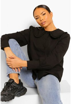 Black New Peter Pan Collar Poplin Blouse