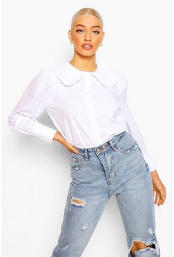 White New Peter Pan Collar Poplin Blouse