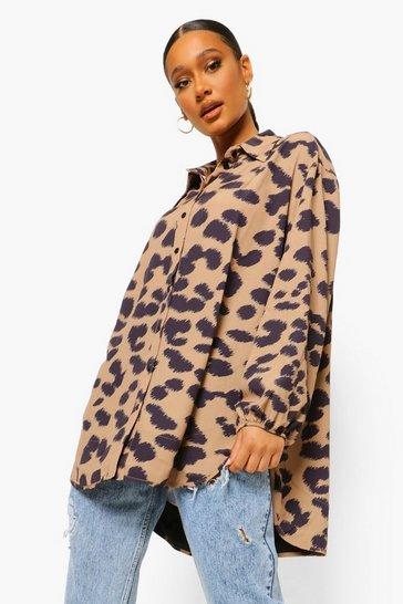 Brown Animal Print Oversized Shirt