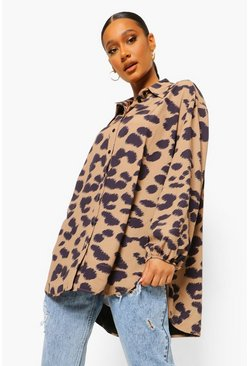 Brown Oversized Dierenprint Blouse