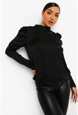 Black Pleat Detail Ruched Sleeve Top
