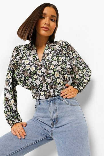 Black Floral Balloon Sleeve Crop Blouse