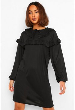 Black Ruffle Collar Detail Smock Dress