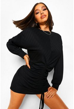 Black Ruched Slouchy Shift Dress