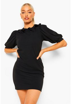 Black Puff Sleeve Collar Button Shift Dress