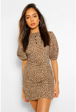 Brown Leopard Puff Sleeve Button Shift Dress