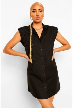 Shoulder Pad Shirt Dress, Black noir