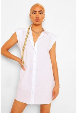 White Shoulder Pad Shirt Dress