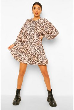 Leopard Print Collar Detail Smock Dress