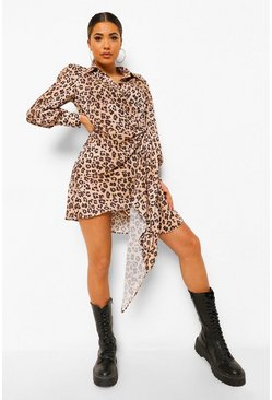 Statement Draped Leopard Shirt Dress