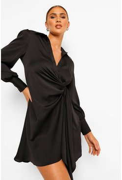 Black Statement Draped Satin Shirt Dress
