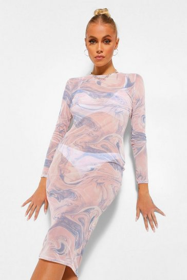 Pink Marble Print Layered Slip Dress