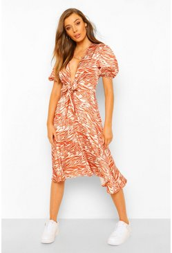 Rust orange Zebra Plunge Tie Waist Midi Skater Dress