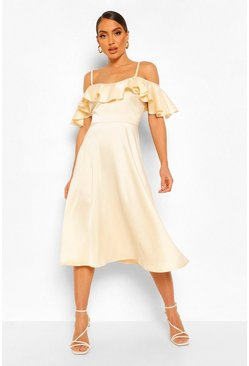 Champagne beige Satin Cold Shoulder Ruffle Midi Skater Dress