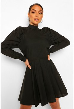 Black Cotton Ruched Puff Sleeve Skater Dress