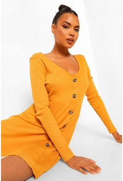 Mustard yellow Rib Long Sleeve Button Detail Skater Dress