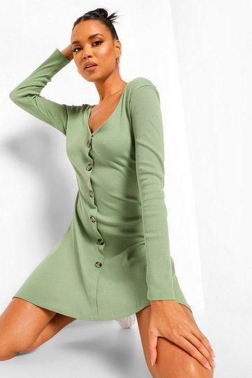 Olive green Rib Long Sleeve Button Detail Skater Dress