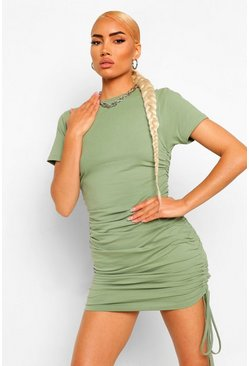 Olive green Short Sleeve Rouched Mini Dress