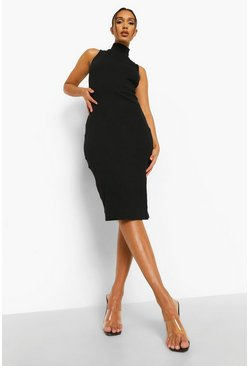 Black Rib High Neck Racer Neck Midi Dress