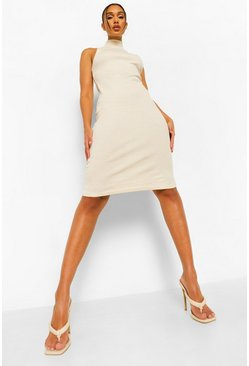 Stone beige Rib High Neck Racer Neck Midi Dress