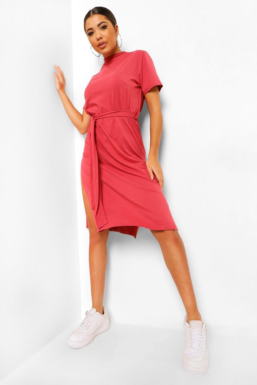 DRESSES High Neck Belted Midi Dress