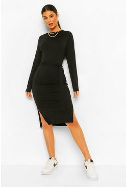 Black Long Sleeve Belted Midi Dress