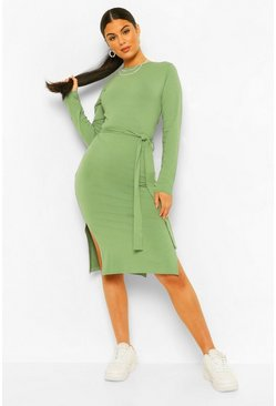Olive green Long Sleeve Belted Midi Dress