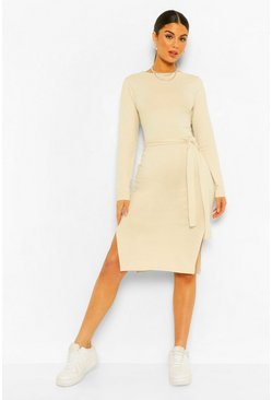 Stone beige Long Sleeve Belted Midi Dress