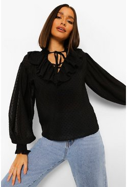 Black Dobby Mesh Tie Neck Ruffle Front Top