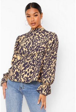 Camel beige Mixed Animal Print Smock Blouse