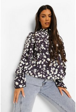 Black Ditsy Floral Smock Top