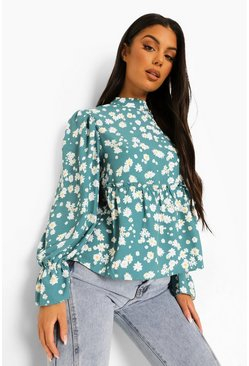 Green Ditsy Floral Smock Top