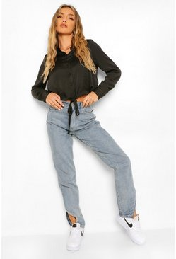 Black Boxy Drawstring Waist Crop Shirt