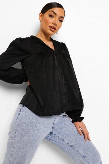 Black Gathered Oversized Shirt