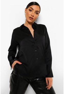 Black Oversized Satin Blouse