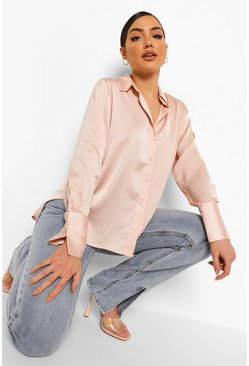 Champagne Oversized Satin Blouse