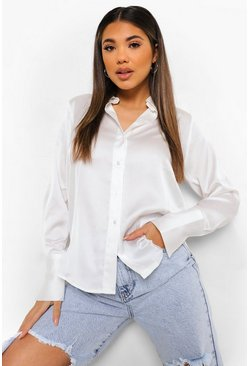 Ivory white Oversized Satijnen Blouse