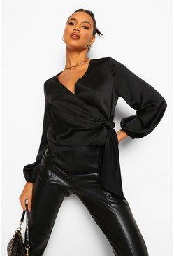 Black Wrap Satin Blouse